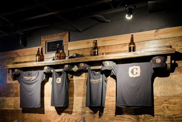 Copperpoint Brewing Company merchandise on display. Click here to shop.