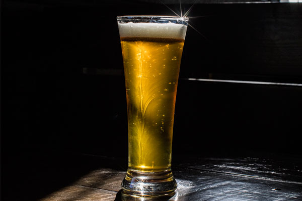 Photo of a freshly poured beer in perfect light.